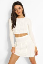 Thumbnail for your product : boohoo Exposed Seam Crinkle Rib Crop And Skater Skirt