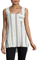 Two By Vince Camuto Petite Crinkle Striped Tank
