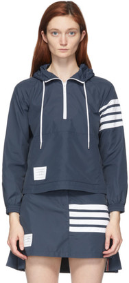 Thom Browne Navy Flyweight Swing Anorak Pullover