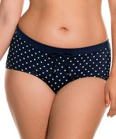 Dorina Navy Polka Dot High-Waist Palm Springs Bikini Bottoms - Plus Too