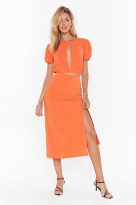 Nasty Gal Womens Hey Hey Vacay High-Waisted Midi Skirt - Orange - 12