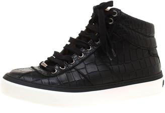 Jimmy Choo Black Croc Embossed Leather High Top Sneakers Size 40.5