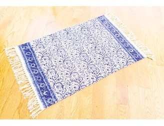 August Grove One-of-a-Kind Knox Floral Block Printed Handmade 2' x 3' Dhurrie Cotton Blue/White Area Rug