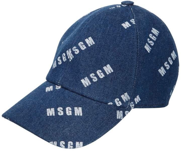 MSGM Logo Printed Cotton Denim Hat