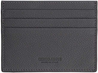 Giorgio Armani Grey Tumbled Leather Card Holder