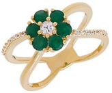 Lord & Taylor Emeralds, White Sapphire and 14K Yellow Gold Ring