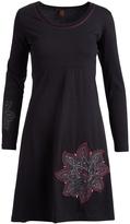 Aller Simplement Black & Rose Stitch-Accent Scoop Neck Dress