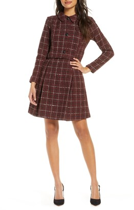 Julia Jordan Long Sleeve Mock Two-Piece Tweed Dress