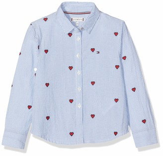 Tommy Hilfiger Girl's Embroidered Heart Stripe Blouse