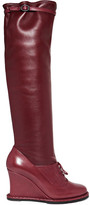 Bottega Veneta Leather Wedge Knee Boots - Merlot