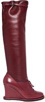 Bottega Veneta Leather Wedge Knee Boots - Merlot