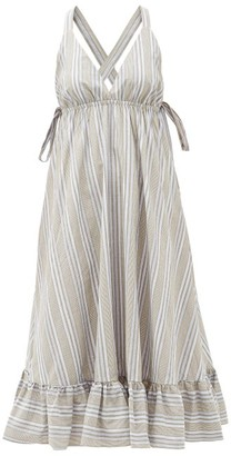 Loup Charmant Amalfi Cross-back Striped Cotton Dress - Beige Stripe