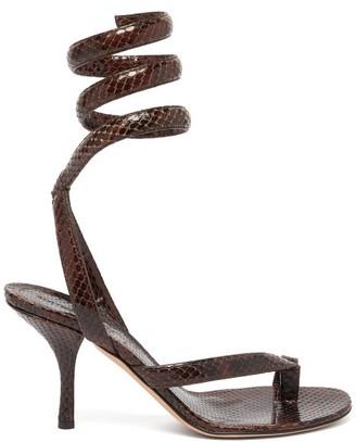 Bottega Veneta The Spiral Wraparound Snake-effect Leather Sandals - Dark Brown
