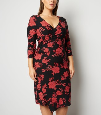 New Look Blue Vanilla Curves Floral Ruched Wrap Dress