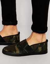 Asos Slip On Sneakers in Camo With Toe Cap