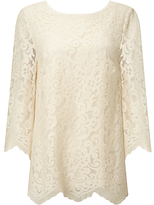 Somerset by Alice Temperley Scalloped Lace Top, Cream