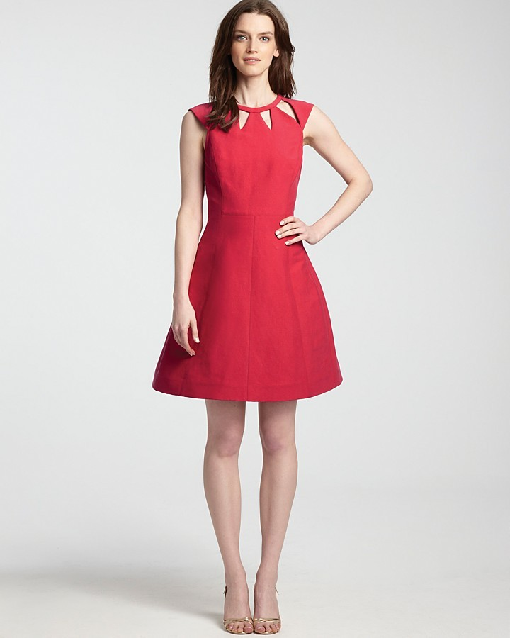 Halston Cutout Dress - with Full Skirt