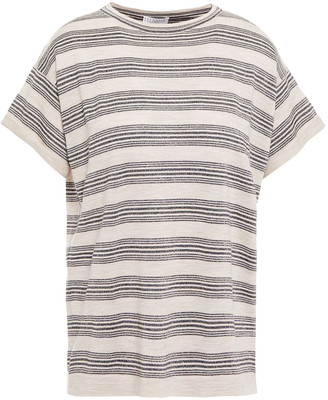 Brunello Cucinelli Metallic Striped Wool And Cashmere-blend Top