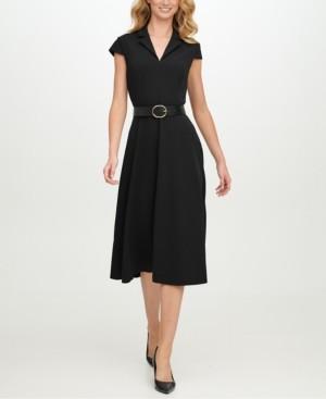 Calvin Klein Belted Scuba-Crepe Fit & Flare Midi Dress