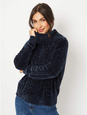 George Navy Chenille Cable Knit Cowl Neck Jumper