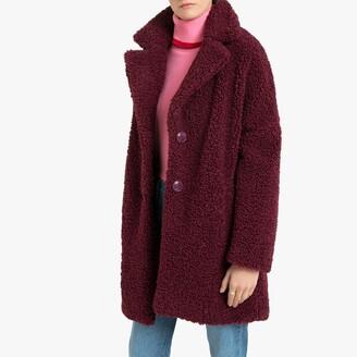 Naf Naf Teddy Faux Fur Mid-Length Parka with Pockets