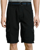 Plugg Highland Relaxed-Fit Stacked Pocket Belted Twill Cargo Shorts