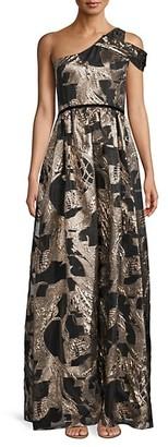 Marchesa Notte One-Shoulder Jacquard Metallic Gown