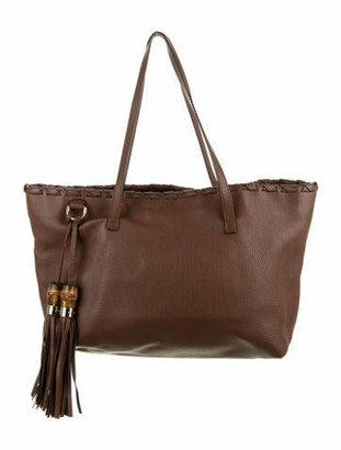 Gucci Leather Bamboo Tassel Tote Brown