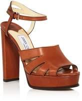 Jimmy Choo Women's Hermione 120 Leather Platform High Heel Sandals