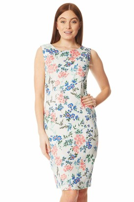 Roman Originals Women Floral Print Shift Dress - Ladies Summer Holiday Smart Casual Everyday Daywear Evening Party BBQ Beach Knee Length Sleeveless Dress - Grey Floral - Size 10