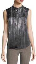 Elie Tahari Terri Sleeveless Pleated Snakeskin-Print Silk Blouse