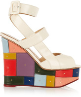 Charlotte Olympia Mosaic glossed-leather wedge sandals