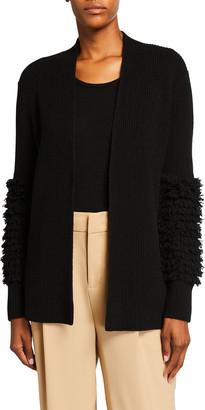 Neiman Marcus Fringe Knit Cuff Cashmere Cardigan
