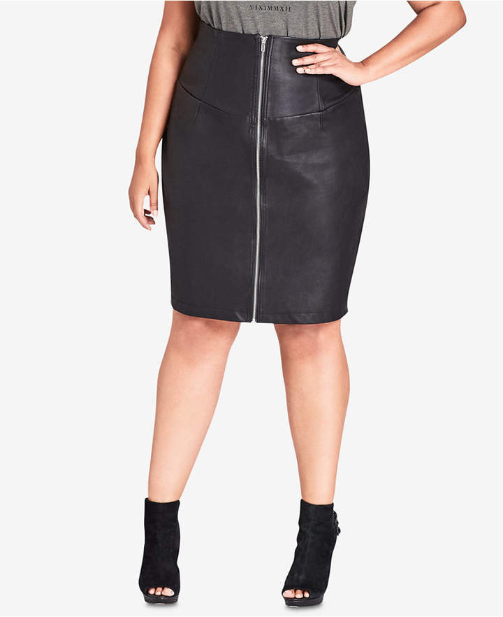 Trendy Plus Size Faux-Leather Skirt