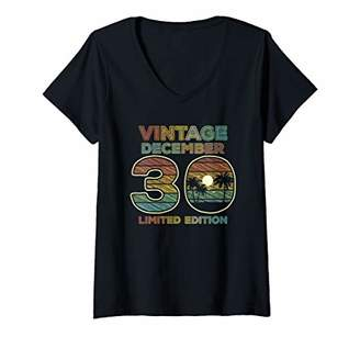 Womens 30th Birthday Gift Vintage December 1989 Thirty Years Old V-Neck T-Shirt
