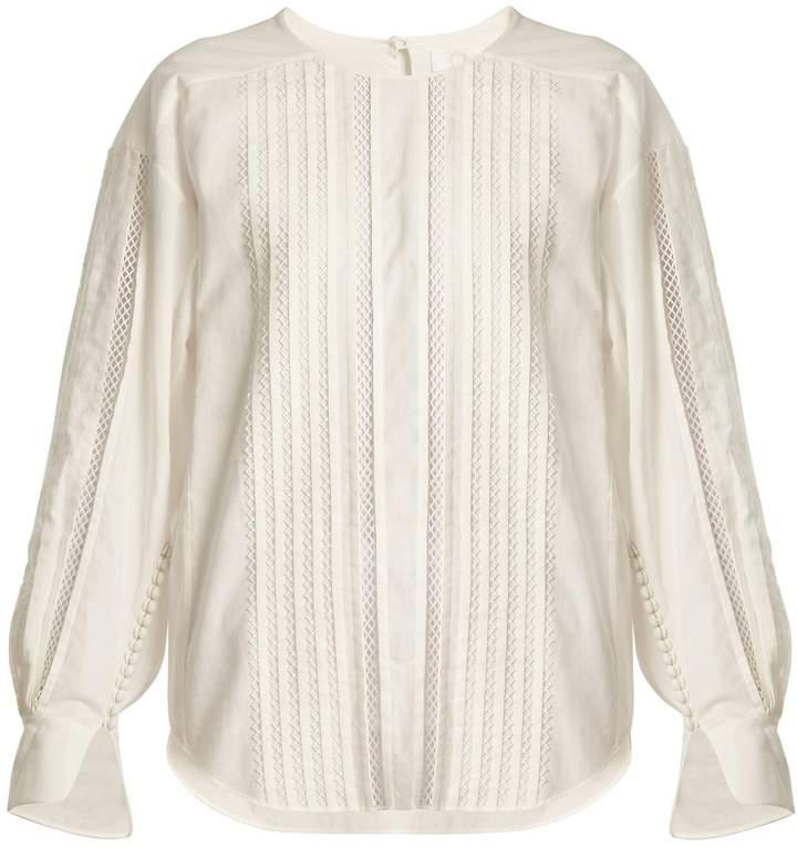 Chloé Diamond-lace trimmed cotton top