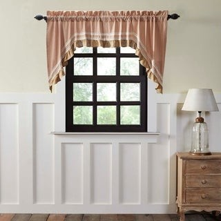 VHC Brands Farmhouse Kitchen Curtains VHC Kendra Stripe Swag Pair Rod Pocket Cotton Striped Lace Cotton Burlap