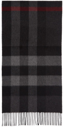 Burberry Grey Cashmere Mega Check Scarf