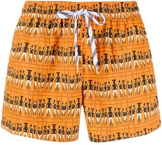 Nos Beachwear Silhouette Print Swim Shorts