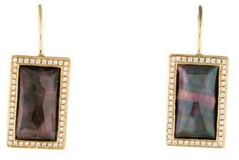 Ippolita 18K Gelato Small Baguette Vertical Black Shell Doublet and Diamonds Earrings