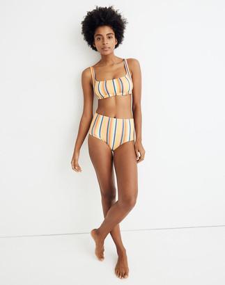 Madewell Second Wave Retro High-Waisted Bikini Bottom in Almeria Stripe