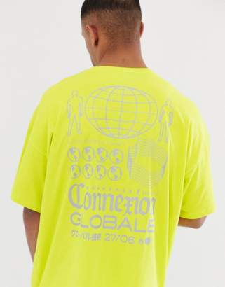 Asos Design DESIGN oversized longline t-shirt in neon with reflective back print