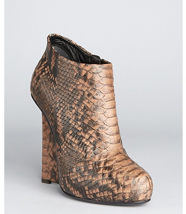Giuseppe Zanotti natural snake embossed leather 'Daisy' wedge booties