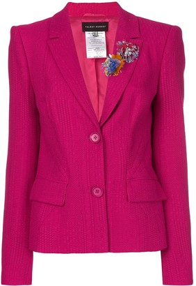 Talbot Runhof Flower Embellished Fitted Jacket