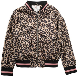 Urban Republic Leopard Print Sateen Bomber Jacket (Big Girls)