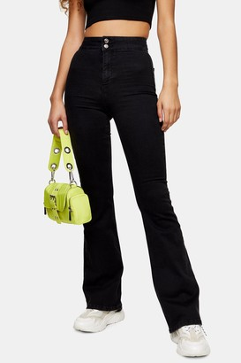 Topshop Womens Considered Three Washed Black Skinny Flare Jeans - Washed Black