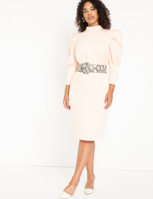 ELOQUII Turtleneck Bodycon With Puff Sleeves
