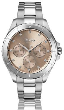 BOSS Stainless-steel watch with carnation-gold dial and crystal markers