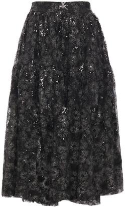 Maje Embellished Embroidered Tulle Midi Skirt