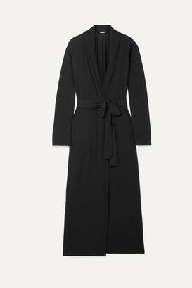 Skin - Kahali Belted Organic Pima Cotton-jersey Robe - Black